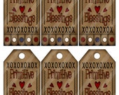 Primitive at Heart Tags Digital Printable Sheet