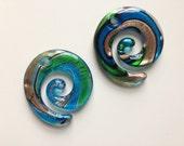 MURANO LAMPWORK Glass SPIRAL Pendant, Blue/Green/Copper/Spiral Glass Pendant