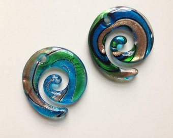 MURANO LAMPWORK Glass SPIRAL Pendants, Blue/Green/Copper/Spiral Glass Pendant