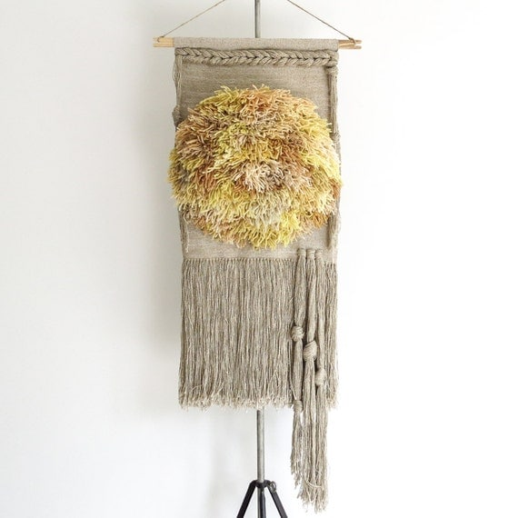 halcyon | hand woven wall hanging weaving with hand dyed fibers