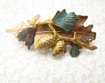 Pine cone Leaf barrette bridal hair jewelry Forrest wedding Pine burrs hair clips