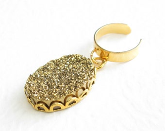 Non Pierced Gold Ear Cuff: Druzy Geode Earring, Stone Dangle Ear Cuff