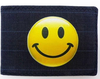 Oyster card holder, bus pass holder,travel card holder, wallet. Smiley emoticon,emoji. Card wallet,Oyster card wallet, credit card holder.