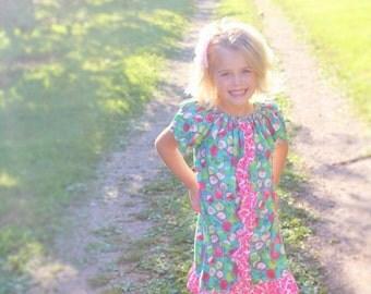 Girl's peasant dress, Apple dress, Autumn dress, Fall dress, Thanksgiving, toddler dress,  bohemian dress, BOHO,sizes Newborn through to 6X