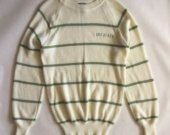 Sacramento State University crew neck sweater, pale cream, green, and golden yellow, late 1980's/early 1990's, men's medium /women's large