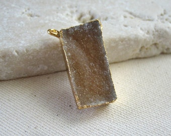 Taupe Druzy Rectangle Connector Pendant Gold Dipped 23.5 x 11.25mm
