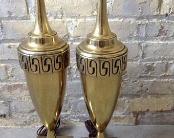 Two Hollywood Regency Brass Lamps - Greek Key Stiffel Lamps - Mid Century  Brass Lamps - Pierre Cardin Lamps - Neoclassical Brass Lamps