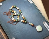 Earthy Green Beaded Necklace Boho Long Gemstone Fused Glass Pendant Necklace Copper Wire Wrapped Rustic Jewelry Jasper Serpentine