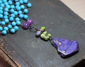 Riot of Color Beaded Necklace Boho Beaded Long Gemstone Necklace Silver Wire Wrapped Rustic Jewelry Purple Green Turquoise