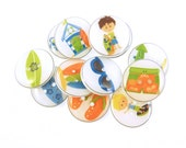 """12 Surfing or Beach Buttons.  Surfer, surf board, flip flops, sun glasses and more  3/4"""" or 20 mm."""