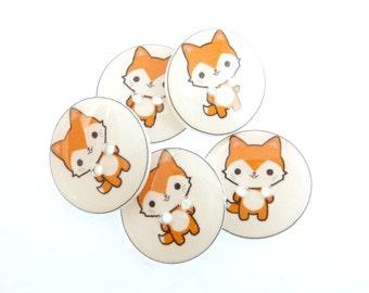 "5 Handmade Red fox Buttons.  3/4"" or 20 mm Sewing Buttons. Novelty Buttons.  Scrap Book Buttons."