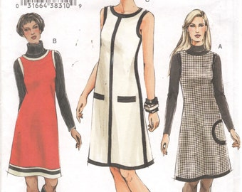 Vogue 7899  Misses Easy Mod Dress and Jumper Pattern Womens Sewing Pattern Size 6 8 10 Bust 30 31 32 UNCUT