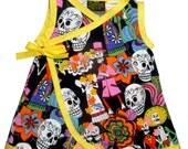 Day of the Dead Dress - Punk Rock Dress - Sugar Skull Dress - Dia De Los Muertos - Yellow Dress - Girls Dress - Toddler Dress - 4t - 5t - 6
