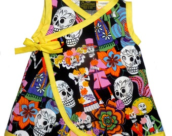 Punk Rock Baby - Day of the Dead - Sugar Skull Dress - Dia De Los Muertos - Yellow Dress - Girls Dress - Toddler Dress - 2t - 3t