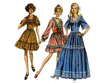Twirl Dress with Cincher Belt Pattern Mini Maxi U, V or Square Neck Fairy Tale Cosplay Dress Simplicity 8875 Bust 34 Vintage Sewing Pattern