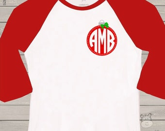 Monogram shirt for holidays - red ornament monogram ADULT raglan shirt- perfect for Christmas shopping and parties