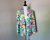 Vintage 1980s Jacket, Floral Blazer, Harrington Square Vintage Size 14 Regular Natural Colored Blazer with Big Bright Painted on Flowers