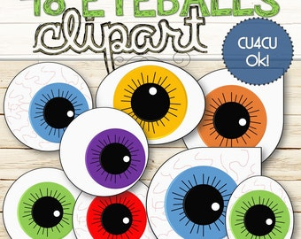 48 Eyeballs Clipart (Cu and Cu4cu OK)  - INSTANT DOWNLOAD