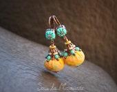 Dangle earrings, yellow saffron fabric, türkisblau clay, beads / Venus - sous la mansarde®, hippie, ethnic spirit, autumn, clay, textile