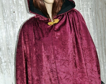 Cape Burgundy Hooded Cloak Handmade