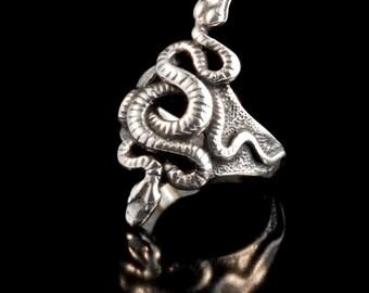 Silver Snake Ring - Alpha Omega Snake Ring - Snake Jewelry - Serpent Ring Serpent Jewelry - Silver Snake Jewelry - Double Snake Ring