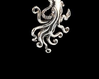 Kraken Necklace Squid Necklace - Silver - Kraken Jewelry Squid Jewelry - Kraken Pendant Squid Pendant - Tentacle Jewelry - Tentacle Necklace