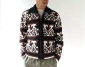 Vintage Men's Cardigan / Flies and Arrows Sweater / 60s Sweater / Zip Up Sweater / M L