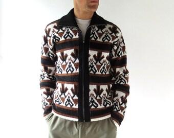 Vintage Men's Cardigan | Flies and Arrows | 60s Sweater | Zip Up Sweater | M L