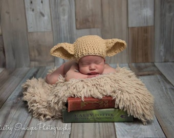 Baby Elf Hat Dobby Hat Size Newborn 0 3m 6m  Crochet Photo Prop Boys Girls Clothes Gender Neutral POPULAR Worldwide Harry Potter