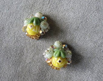 Vintage Art Deco Style Cluster Beads Earrings