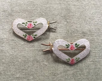 Pair of Silver Guilloche Enameled Heart Shaped Barrettes / Bridesmaids / Baby