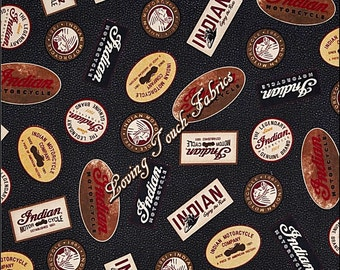 """Quilting Treasures #1649-23161-J  """"Open Road"""" Indian Motorcycle Signs Words Cotton Fabric 1/2 Yd 18"""" x 44"""""""