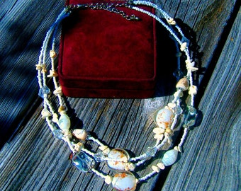 Golden Sand of The Nile White and Gold Multi Strand Glass Bead Statement Necklace