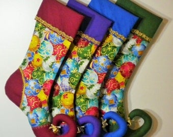 Set of Four Coordinating Chritmas Stockings with Curly Elf Toes