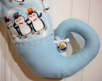 Christmas Stocking with Penguins and Curly Elf Toe