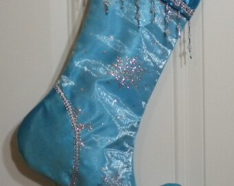 Beaded Christmas Stocking with Glittery Snowflakes and Curly Elf Toe
