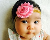 Pink Shabby Flower with Gold Glitter Headband - Newborn - Baby