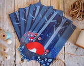 Little fox postcard set, fox in the woods, 5 illustrated postcards