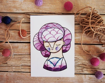 Winter postcard purple girl portrait