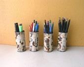 Metal Pencil Holder, Office Organizer, Industrial Decor, Coworker Gift Idea, Distressed Metal Storage
