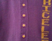 Handknit Sweater Cardigan Purple, word PRICELESS Knitted into sweater, Medium Purple, Gold writing, size 8-10