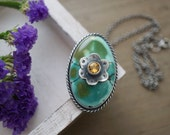 Turquoise And Citrine Pendant Sterling Silver