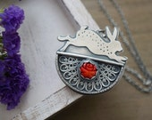 Filigree And Coral Rabbit Pendant