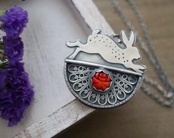 Filigree And Coral Rabbit Pendant