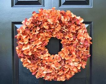 Orange Fall Wreaths Monogram Hydrangea Wreath Fall Monogram Wreath, Orange Hydrangea Wreath, Fall Decor Halloween Decor