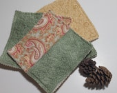 Oversized Coaster SET or Mug Rug Snack set, Quilted, six total, green, pink paisley, reversible