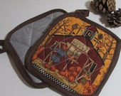 Autumn Potholder SET (2) - scarecrow and pumpkins