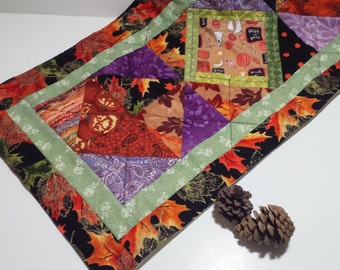 Autumn Wall Hanging or Table Runner - Harvest Time,  Lavender, Orange and Black
