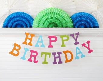 Happy Birthday Banner - 5 inch Letters - Bright Party Decoration Kids Colorful Birthday Banner Colorful Party Banner Birthday Party Banner