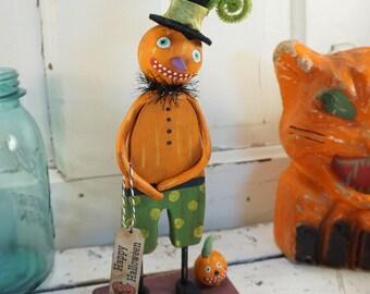 Halloween Decor / Halloween Folk Art / Pumpkin / Vintage Style Halloween Decoration / Black Cat / Primitive Halloween / Art Doll